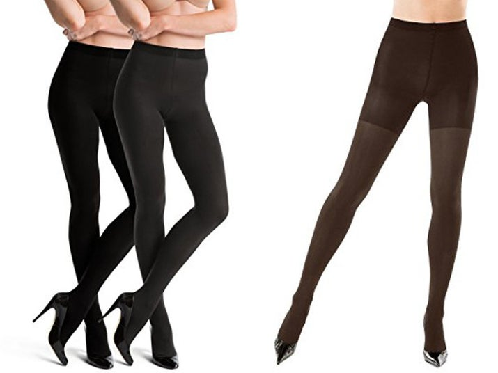 """Promising review: """"I've owned these tights before, and was looking forward to purchasing them again. They are very durable (difficult to run or pull, even when worn with boots with zippers), warm enough to wear in cool weather, and the reversible option is great. I wore them recently as black tights, and the brown side did not show through at all, even when stretched and in bright sunlight. They do cost a bit more than other tights, but in my opinion, it's worth it because I'll get a lot of wear out of them, and they're worth at least two pairs of tights. They can be washed and hung to dry without losing shape or elasticity. They fit similarly to other SPANX products — you don't want to go too small, or you'll be pulling and yanking on them constantly, but the size chart is very accurate. I was on the borderline between two sizes, and picked the larger, which were comfortable and did their job."""" —myswtghstPrice: $24.51+ Rating: 4.1/5 Sizes: A–G Colors: bittersweet/black, black/charcoal, gray/black, two-pack of black/charcoal"""