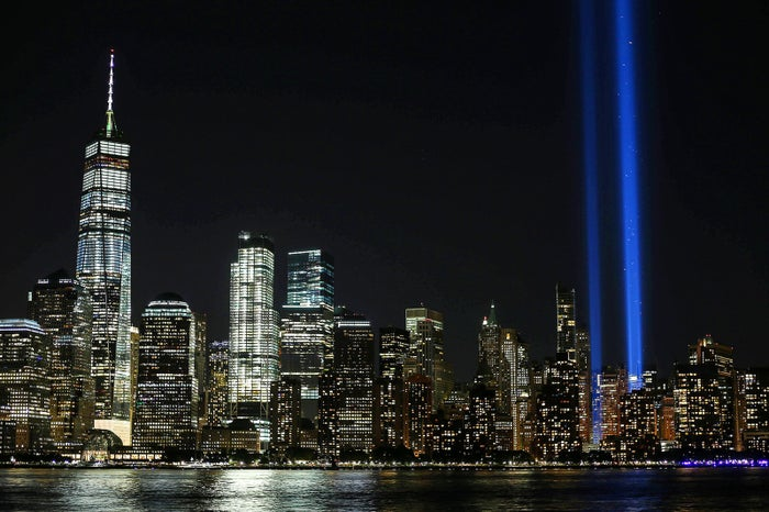 """The """"Tribute in Light"""" memorial, as seen from New Jersey on Sept. 10."""