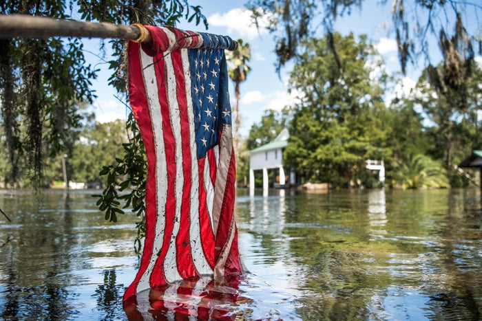 Floodwaters from Hurricane Irma recede on Sept. 13 in Middleburg, Florida. Flooding from Black Creek surpassed the town's previous high-water mark by roughly seven feet.