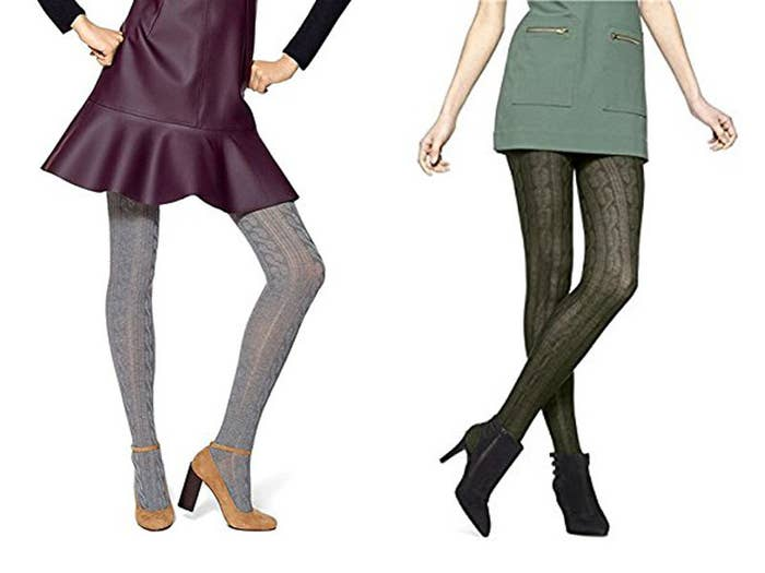 671cd821293a05 Cable-knit sweater tights as some added dimension to your usual skirts and  dresses.