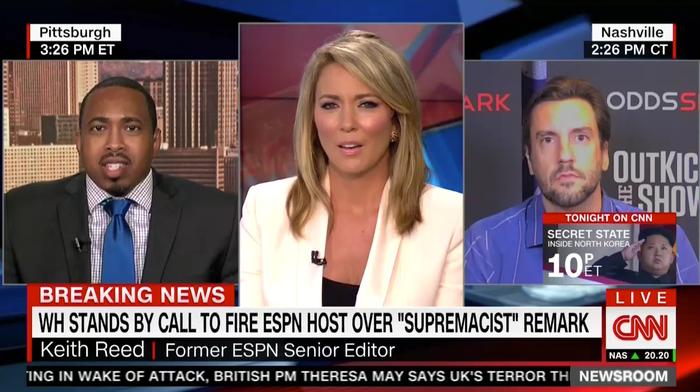 Clay Travis, right, speaks on CNN Friday.