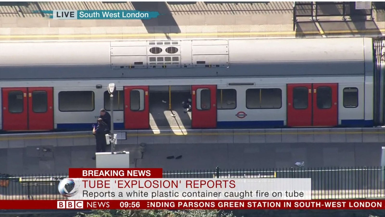 An aerial view of the tube train where an explosion was reported on Friday morning.