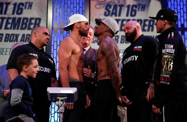 This is British boxer Billy Joe Saunders and American Willie Monroe Jr. The pair are due to fight in London on Saturday night.