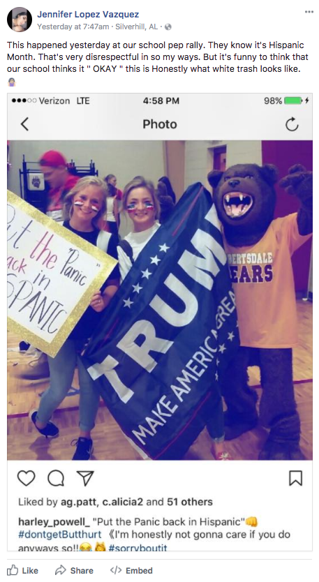"""""""This happened yesterday at our school pep rally,"""" Vazquez wrote along with the screenshot. """"They know it's Hispanic Month. That's very disrespectful in so my ways. But it's funny to think that our school thinks it ' OKAY ' this is Honestly what white trash looks like."""""""