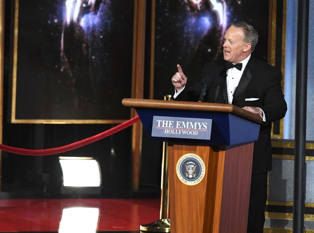 ICYMI, former White House Press Secretary Sean Spicer caused quite a kerfuffle by appearing at the Emmy awards on Sunday night.