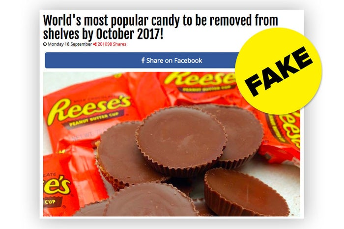"""The false story appeared on breakingnews247.net, a website that enables anyone to write an article and upload an image for it to be shared on Facebook. """"Prank Your Friends Now!"""" says the site's homepage. BuzzFeed News previously reported that the site is part of a network of at least 11 create-your-own-fake-news websites owned by a man named Nicolas Gouriou. The false story about Reese's Peanut Butter Cups is the site's second biggest viral hit in the last 12 months. It's generated over 820,000 shares, reactions, and comments on Facebook in four days."""