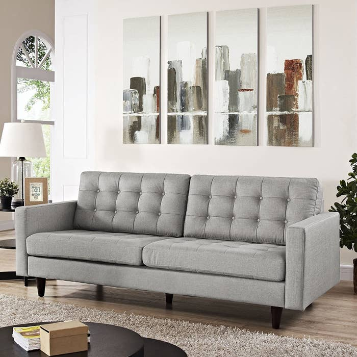 Styles: One of the biggest, if not the biggest, selections of sofas online. You'll find reclining sofas, settees, leather couches, and so much more! Prices: $100+Shipping: Delivery fees and dates vary based on the item. Additional services, like assembly and set up (if required), can also be added, depending on the item. Prime members can often get faster and free delivery. Get this tufted button sofa for $702.75.