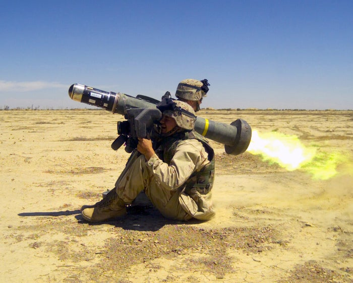 Two US Marine Corps fire a Javelin anti-tank missile