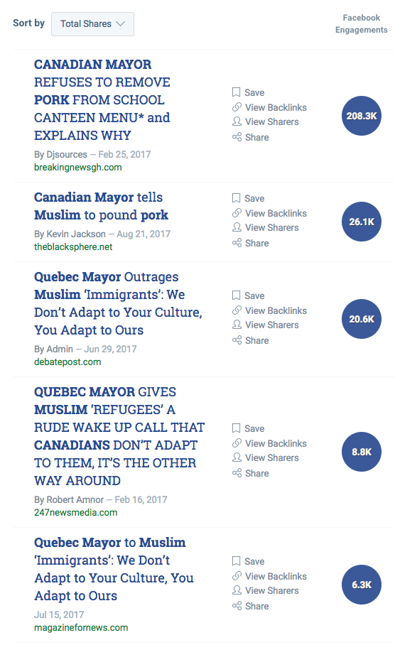 The stories still get thousands of Facebook comments, likes, and shares, according to the social tracking platform Buzzsumo. This makes it appealing for websites to keep recycling the claims.The hoax has such viral power that one website, the right-wing Canadian blog Debate Post, has published the story twice this year — within four days of each other.