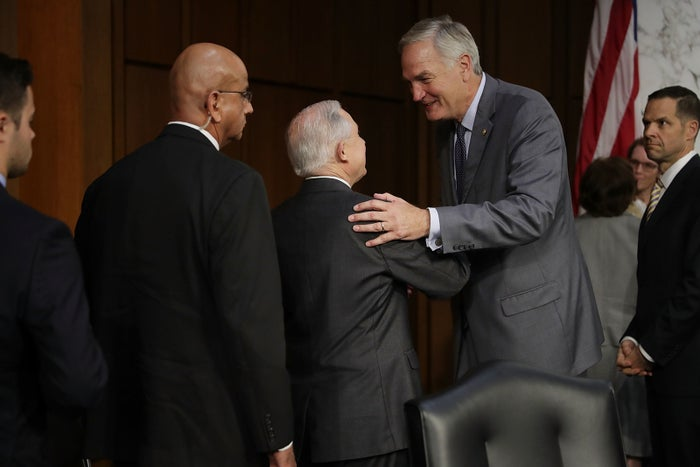 Alabama Sen. Luther Strange shakes hands with his predecessor, US Attorney General Jeff Sessions, on June 13 in Washington, DC.