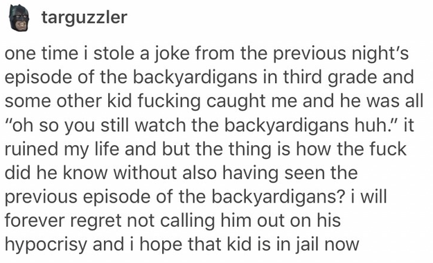 Don't read this very sad Backyardigans account: