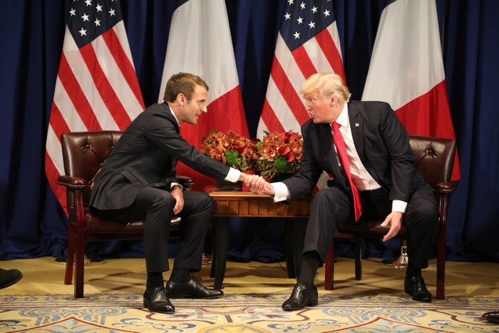 France's President Emmanuel Macron and US President Donald Trump at the Palace Hotel in New York on Monday.