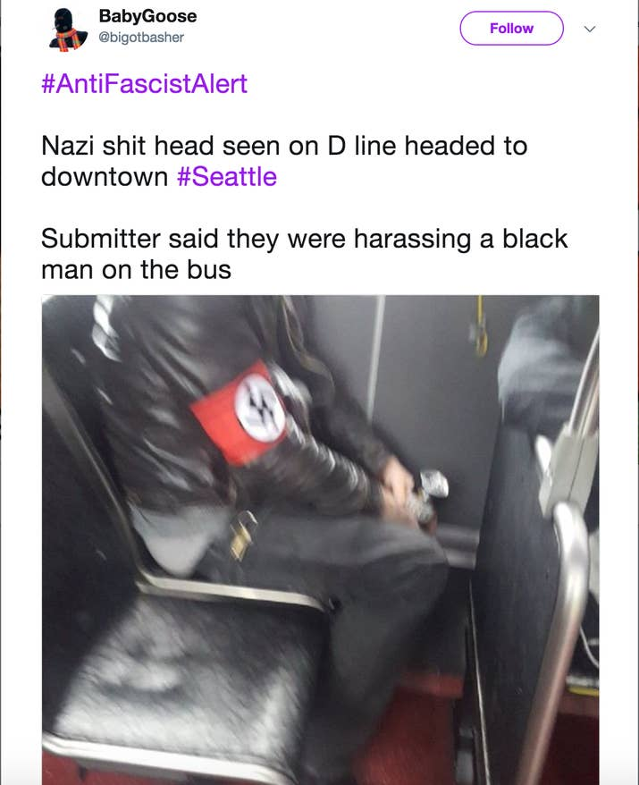 The user wrote that the photo was submitted to them by a third party. @bigotbasher wrote in their tweet that the man in the armband was harassing a black man on the bus. BuzzFeed News has reached out to the person behind the account for comment.
