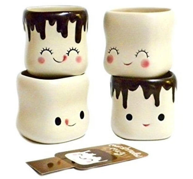 A set of marshmallow mugs so cute you'll want to eat them up. But don't, they're not real marshmallows, they're mugs!