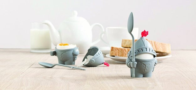 An egg cup holder that really just wants to be your knight in shining armor.