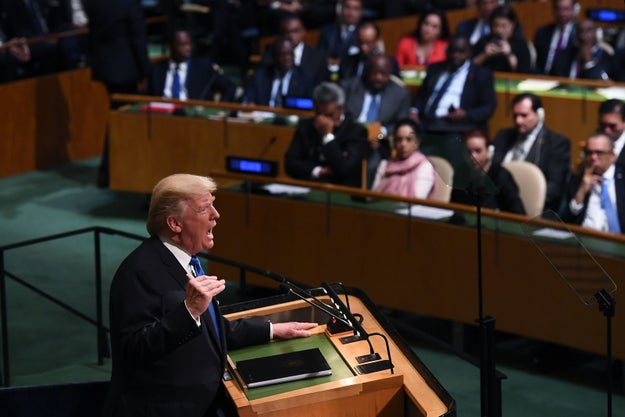 """President Donald Trump used his first UN address on Tuesday to sharply criticize """"rogue regimes,"""" including North Korea and Iran."""