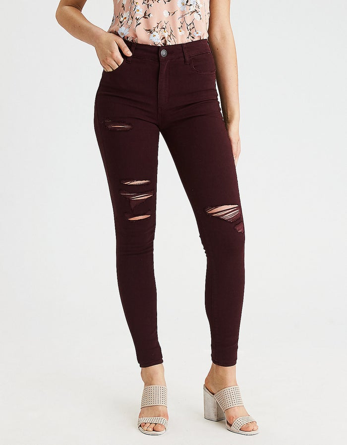 """Promising Review: """"I love the color! They're more of a purple-red than maroon. The holes are perfect; not too big. You almost don't even notice them."""" —Tllewis23Get them from American Eagle for $59.95 (sizes 00-20)."""