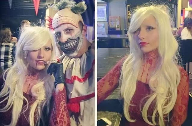 """""""This was toward the end of the night, so the blood and makeup are a bit smudged and the hair is pretty frizzy, but we had a lot of fun as these characters.""""—allier47d78a6a0"""