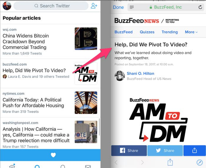 "Click a link inside Twitter's Popular Articles feature and the article will open in a browser inside the Twitter app. When you hit ""done"" in the browser, you go back to the Explore tab."