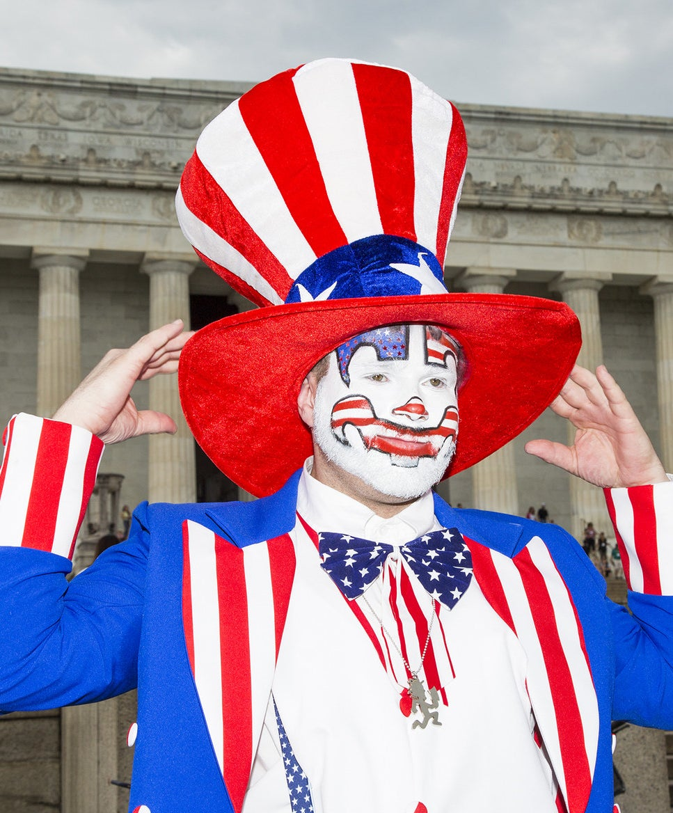 Insane Clown Posse fan Tim Schlarmann poses for a portrait in front of the Lincoln Memorial.