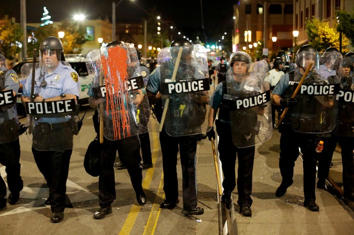 Police officers in St. Louis on Saturday.