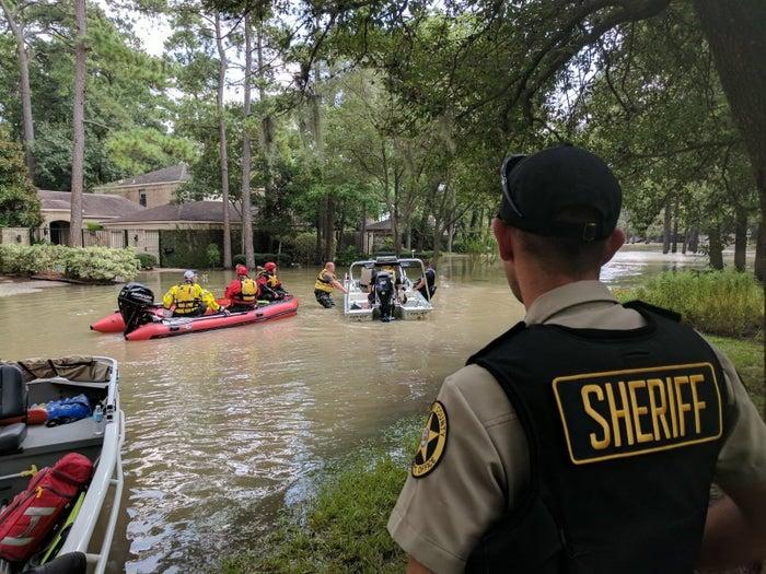 Emergency responders prepare to patrol a neighborhood in west Houston on Sept. 1.