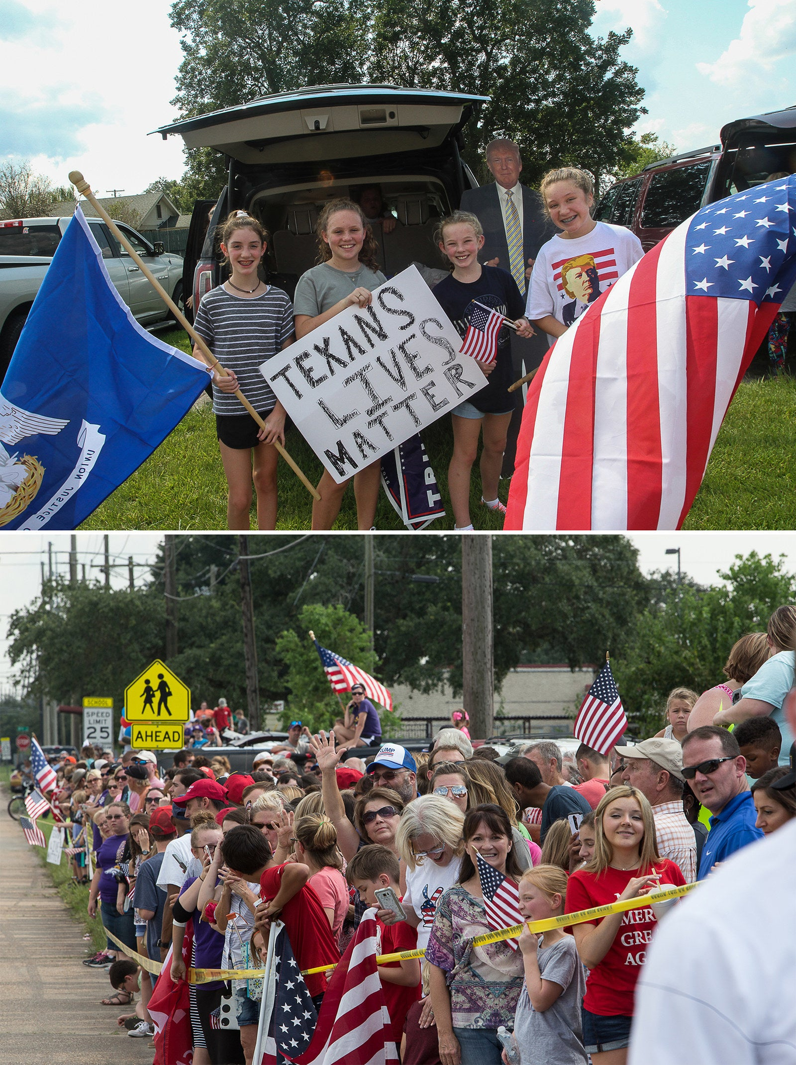 Supporters of US President Donald Trump excitedly await his arrival in Lake Charles.