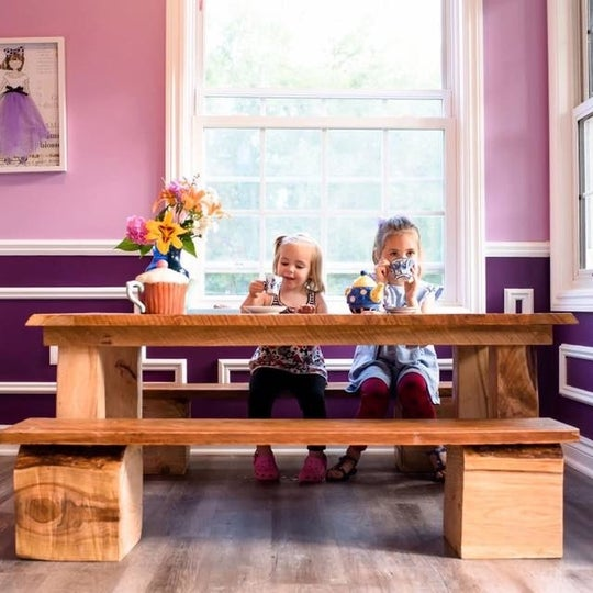 This dad built a two story playhouse for his daughters and for Buzzfeed best dining rooms