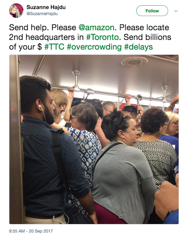 Toronto has also expressed interest. And one Toronto resident made a desperate plea for Amazon to bring its billions to update the city's train system.
