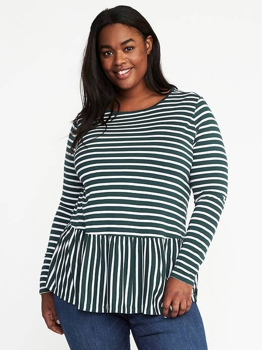 c7b21ebdbd50 A striped peplum top that s the perfect transitional piece — wear it alone  or layered under a wool leather jacket.