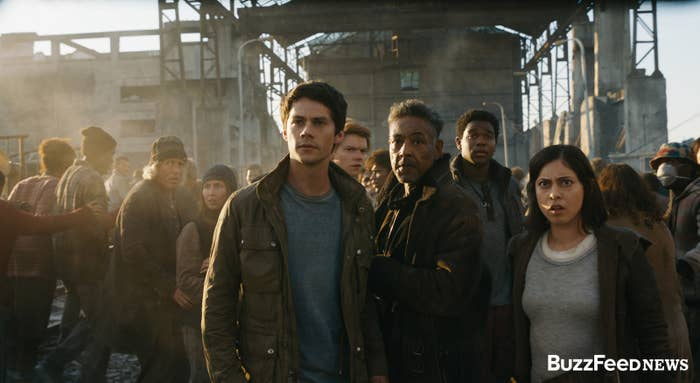 From left to right: Thomas (Dylan O'Brien), Newt (Thomas Brodie-Sangster), Cranks leader Jorge (Giancarlo Esposito), Frypan (Dexter Darden), and Brenda (Rosa Salazar).