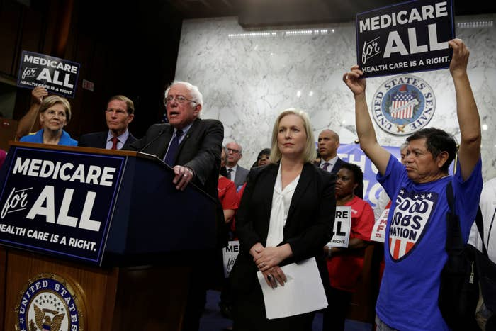 """Sanders speaks during an event to introduce the """"Medicare for All Act of 2017"""" on Capitol Hill."""