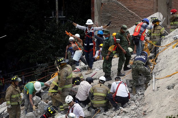 Rescuers Are Digging To Find Children Trapped In A Collapsed School After Mexico City's Earthquake