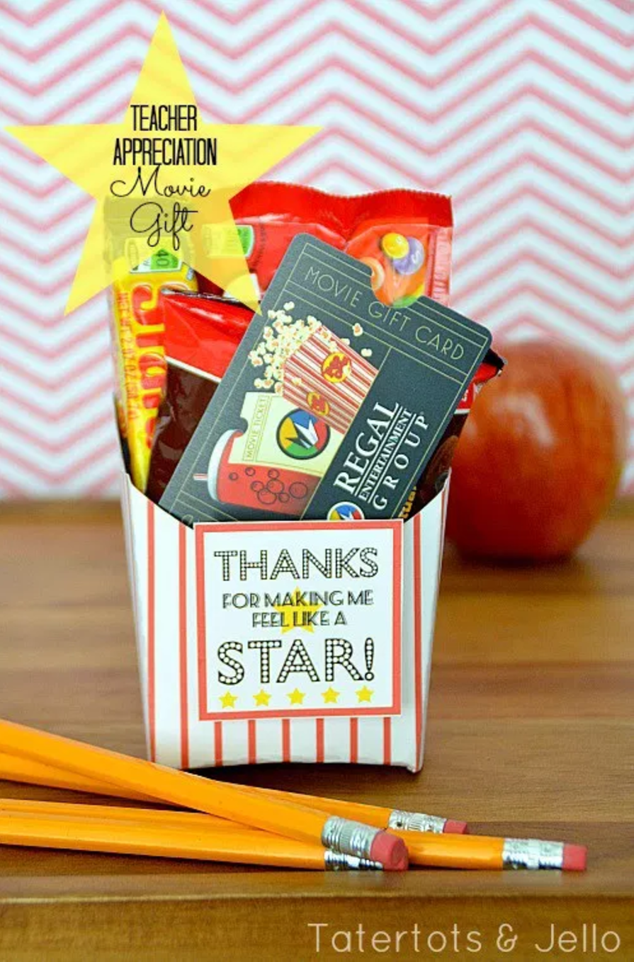 """bloggers teacher appreciation movie gift with gift certificate, candy, and sign that says """"thanks for making me feel like a star!"""""""