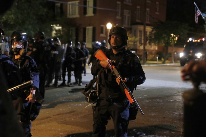 A police line Friday in St. Louis.