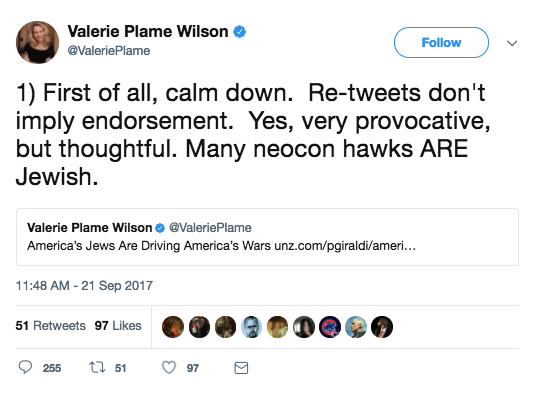 """As with all great Media–Twitter Firestorms, Plame soon began tweeting to defend herself, telling the masses to """"calm down"""" and claiming that """"re-tweets don't imply endorsement."""""""