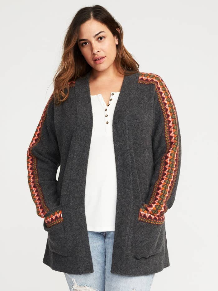 bb8f51386bc A cozy cardigan-coat with a pretty pattern on the sleeves to make chilly  days a bit more tolerable.