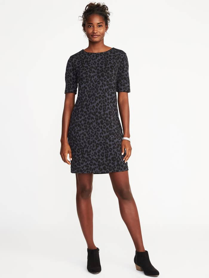 d13ed6fb4c0 10. A gray leopard-print dress that s wildly cool (and would look amazing  with tights).