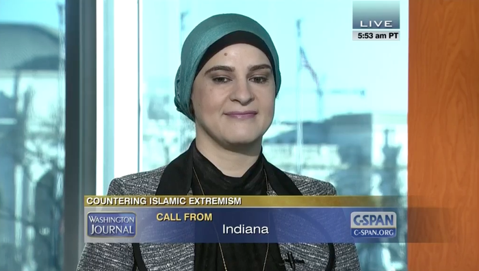 Manal Omar during the C-SPAN appearance that would eventually be called out in a congressional hearing.