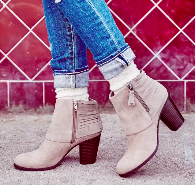 """Promising review: """"These booties are the best! Comfortable, just the right heel height, and I love the detail on the back. They're perfect for work, going out, or something casual. I have wide feet and these boots fit me just fine. I ordered my normal size, no need to size up or down."""" –Mamabex Price: $59.99 Sizes: women's 5.5-11 Colors: three"""