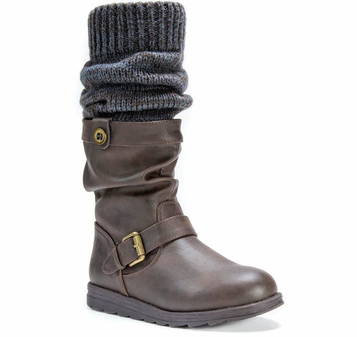 """Promising Review: """"I love these boots. They are exactly like the picture. I was not expecting them to be warm, but they are. You could wear them without socks, as they are super comfortable inside."""" —Rachel E LoyGet them from Amazon for $53.87+, Jet for $83.95, or Target for $34.99+ (available in three colors, sizes 6–11)."""