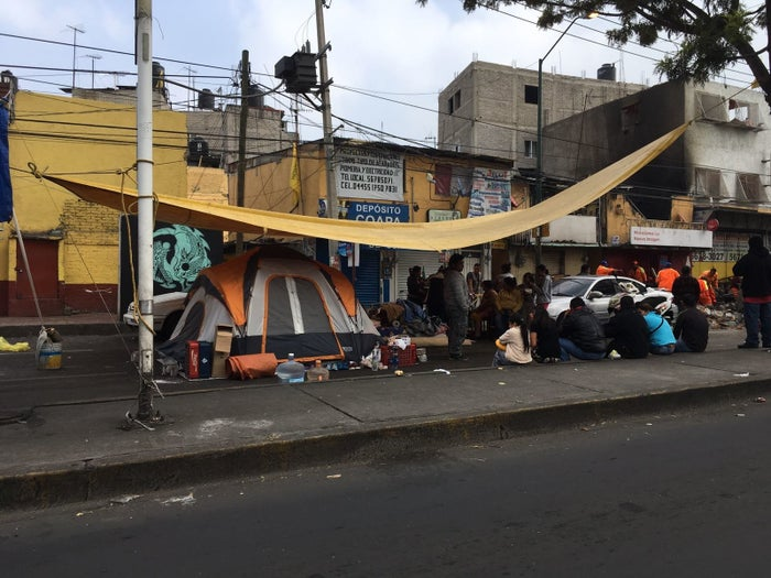 Tents with displaced earthquake survivors alongside a road in Coyoacán, Mexico City.