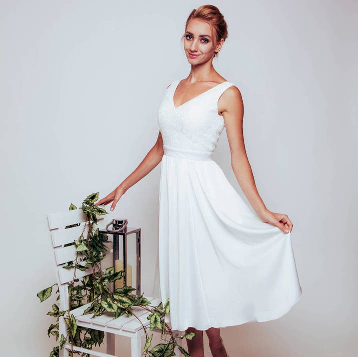 A Super Simple White Gown With Swishy Silk Skirt From Not On The High Street GBP155