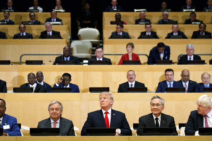 President Donald Trump sits among world leaders during the United Nations General Assembly in New York City on Sept. 20.