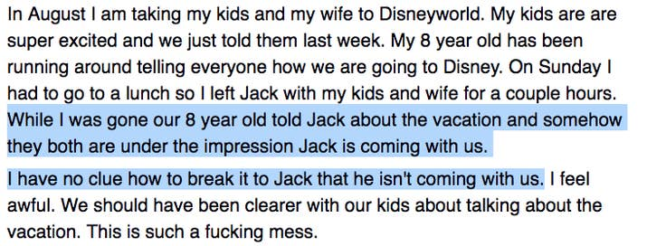 The Dad Who Only Wanted To Take Two Of His Kids Disney World But Not Son From A Previous Marriage