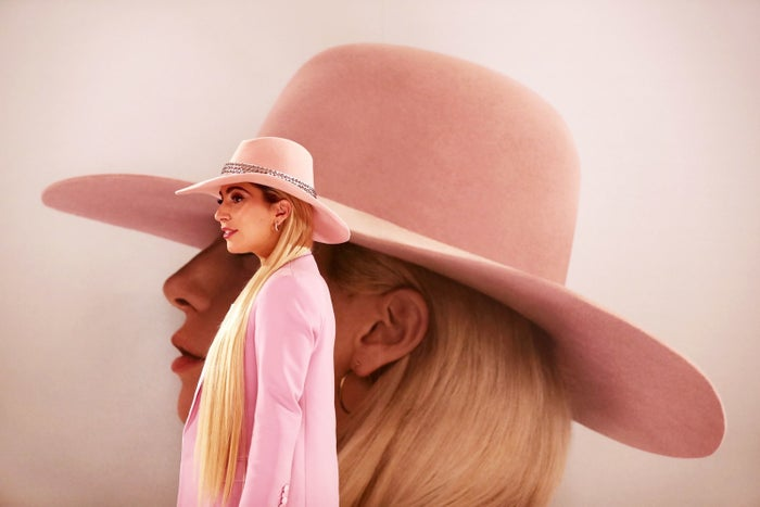 Lady Gaga poses for a photo call to promote Joanne in Tokyo on November 2, 2016.
