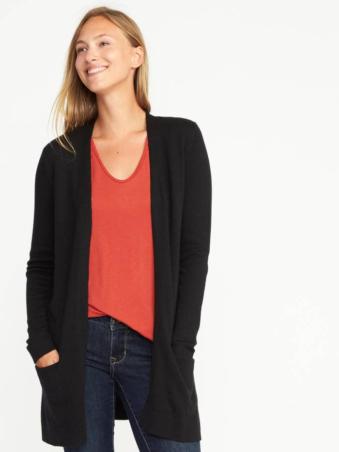 dbac6283768f 14. An open-front cardigan (with pockets) to layer over blouses and tees.  It s the ultimate wardrobe workhorse.