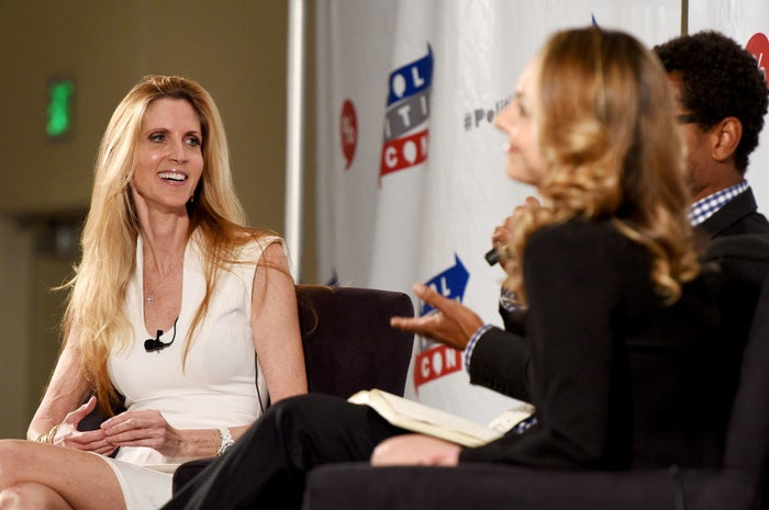 Ann Coulter (left) speaks on a panel at Politicon in Pasadena, California, on July 29.