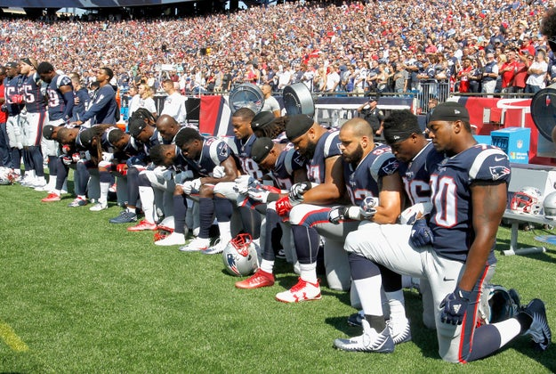Players around the league either linked arms or knelt during the anthem, in defiance of Trump's saying any player who takes a knee should be fired.