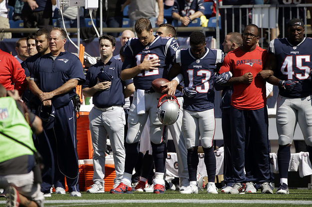 Trump's Friend Tom Brady Linked Arms With The Patriots During The National Anthem